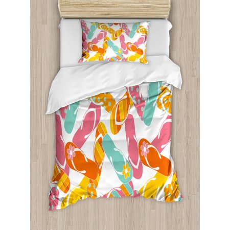 Summer Twin Size Duvet Cover Set, Colorful Bunch Flip Flops Sandals Pattern Relax Holiday Sunbath Theme Groovy Graphic, Decorative 2 Piece Bedding Set with 1 Pillow Sham, Multicolor, by Ambesonne
