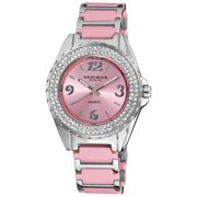 Akribos XXIV  Women's Pink Quartz Crystal Ceramic Bracelet Watch Gifts for Her