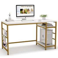 Tribesigns Computer Desk with Storage Shelves, 55 inch Modern Home Office Desk Study Table Writing Desk Workstation with Magazine Rails, White Gold Metal Frame