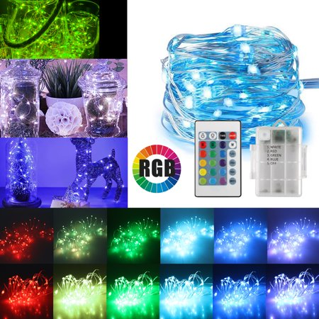 16ft 50LED Copper Battery Powered Multi Color Changing Fairy String Lights With Remote Control for Indoor Bedroom Christmas Wedding Costume - Multi String Lights