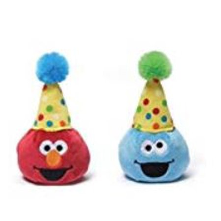 Gund Sesame Street 3.5 inch Birthday Beanbag Pals (1 Elmo and 1 Cookie (Monster Pals)