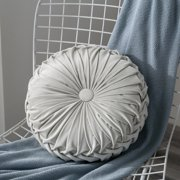 Fymall Round Filled Cushion Velvet Pleated Throw Pillow Home Sofa Bed Decor