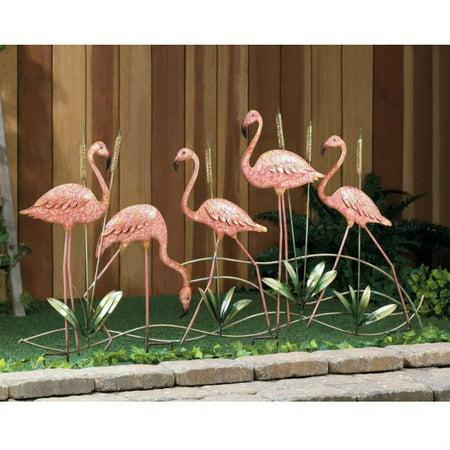 Summerfield Terrace Outdoor Garden Decor, Pink Flamingo Small Decorative Garden Stakes, Iron](Flamingo Outdoor Decor)