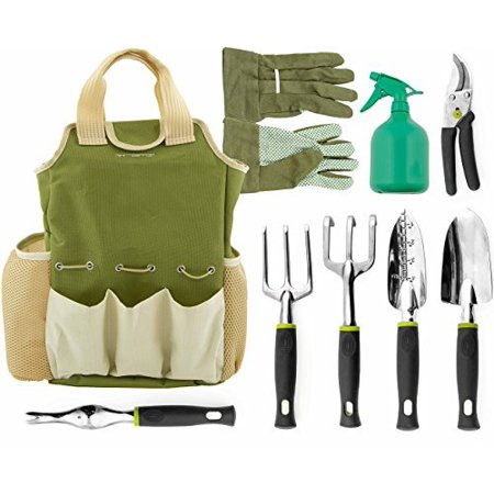 9 Piece Garden Tools Set - Gardening Tools with Garden Gloves and Garden Tote - Gardening Gifts Tool Set with Garden Trowel Pruners and More - Vegetable Herb Garden Hand Tools with Storage Tote, Vremi