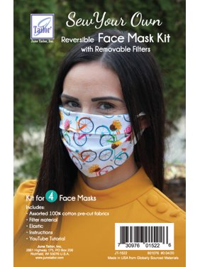 Sew-Your-Own Reusable Face Mask Kit, Set of 4 w/ Assorted Fabrics