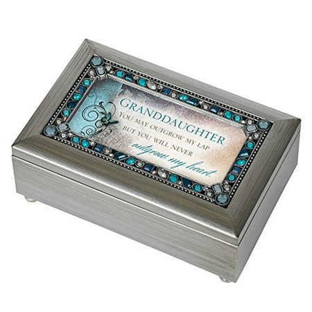 Godinger Silver Jewelry Box (Granddaughter Jeweled Silver Finish Jewelry Music Box - Plays Tune You Are My)
