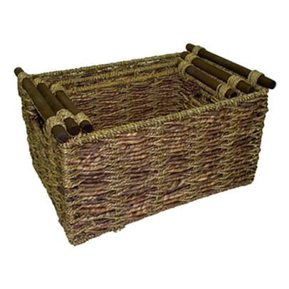 - America Basket Two-tone Maize and Seagrass Storage Baskets (Set of 3) Walnut