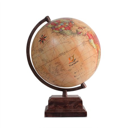"""TRUE NORTH World Globe with Strong, Heavy Duty Stand – Large 12"""" Antique Finish Desktop Earth – Decorative And Educational for Kids - Top Educational Toys For 1 Year Olds"""