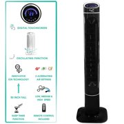 50 in. Luxury Digital 3 Speed High Velocity Tower Fan with Fresh Air Ionizer and Remote Control in Sleek - Black