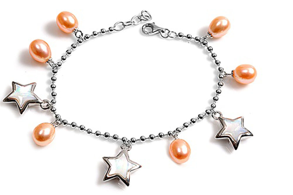 Charm Ball Bead Star Bracelet Simulated Mother of Pearl Simulated Pearl .925 Sterling Silver by