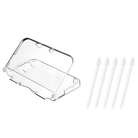White Stylus - 3Ds XL Stylus 3Ds LL Stylus 3Ds XL Case 3Ds LL Case by Insten 5-Piece White Stylus with Crystal Clear Hard Plastic Protective Cover Case For Nintendo 3DS XL / Nintendo 3DS LL