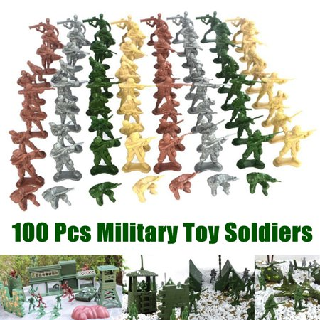 Moaere 100 Pcs  Military Plastic Toy WWII 5cm Soldiers Army Men Figures 10 Poses Kit (Kids Army Kit)