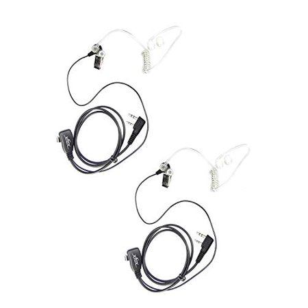 2Pack Xfox 2Pin FBI Style Clear Acoustic Coil Tube Earpiece Police PPT Headset Earphone for Kenwood HYT Puxing Wouxun