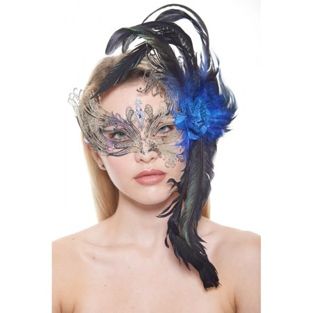 KAYSO INC FBF003SL-BL MAJESTIC SILVER SWAN LASER CUT MASQUERADE MASKWITH FEATHERS AND BLUE FLOWER ARRANGEMENT](Spain Costume)