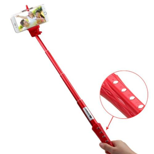 Insten Red Selfie Stick (with Built-In Bluetooth Wireless Remote Shutter & Zoom In Out) 40\