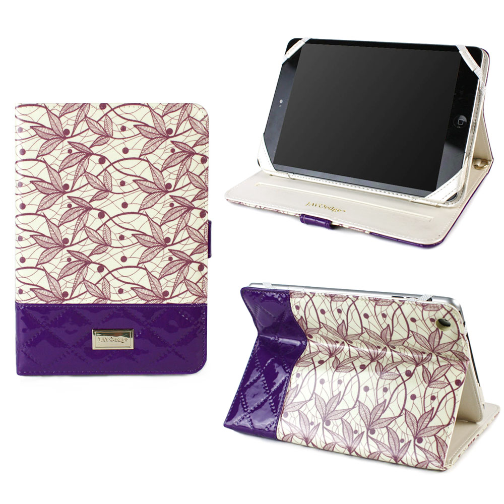 JAVOedge Quilted Flora Folio Case with Multi Angled Stand for the Apple iPad Mini, iPad Mini 2 with Retina