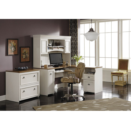 Bush Fairview Collection L-Shaped Desk with Hutch and 2-Drawer Lateral File Cabinet, Antique White