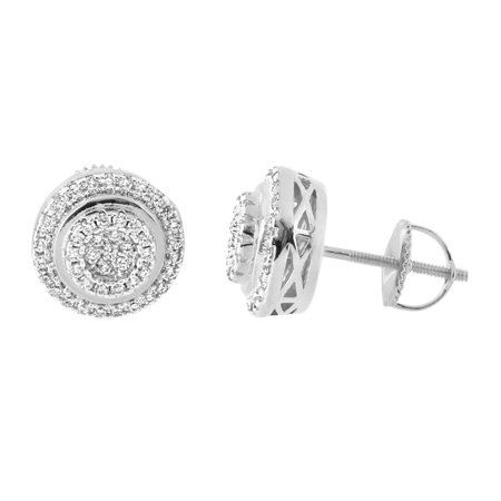 - Round Halo Earrings 14K White Gold Finish Lab Created Cubic Zirconias Iced Out Screw Back Studs