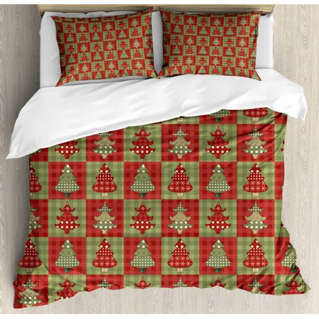 Christmas Duvet Cover Set, Different Styled Noel Trees on Checkered Squares Background Vintage Quilt, Decorative Bedding Set with Pillow Shams, Ruby Reseda Green, by Ambesonne ()