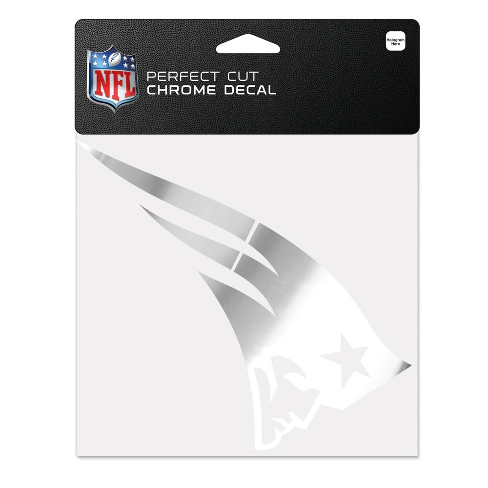 New England Patriots Official NFL 6 inch  x 6 inch  Chrome Perfect Cut Decal by Wincraft