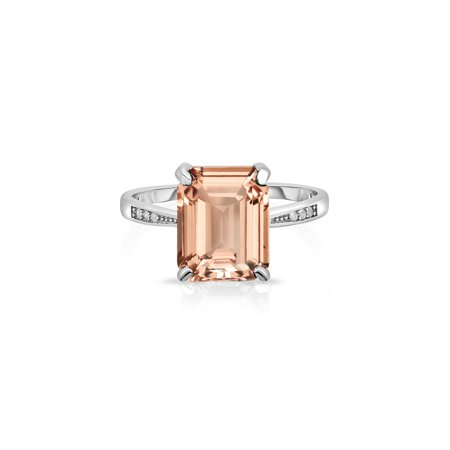 Emerald Cut Glass - 4.00 CTTW Morganite Emerald Cut Sterling Silver Ring