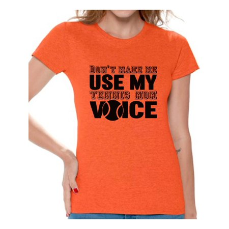 Awkward Styles Women's Don't Make Me Use My Tennis Mom Voice Graphic T-shirt Tops Black Sport