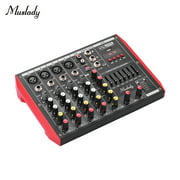 Muslady D6 Portable 6-Channel Mixing Console Mixer 7-band EQ Built-in 48V Phantom Power Supports BT Connection USB MP3 Player for Music Recording DJ Network Live Broadcast Karaoke