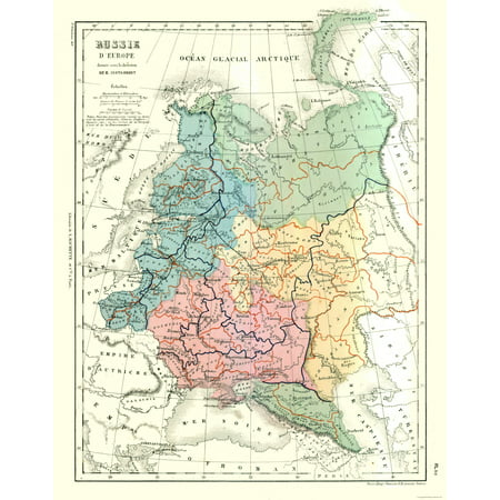 International Map Russia In Europe Contambert 1880 23 X 29 26
