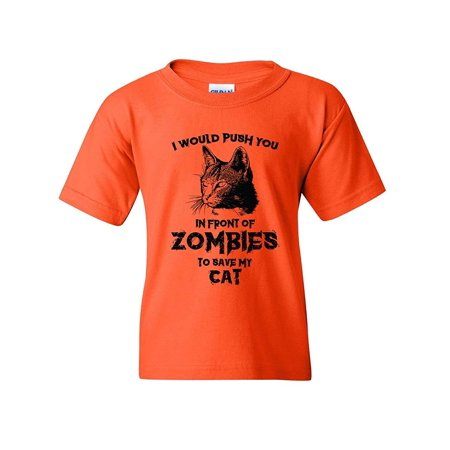 Zombie Cat Kids Youth Tee Funny Halloween Kitty Humor Dead Walker Kitten Animal Graphic Pun T-Shirt