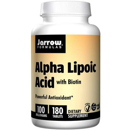 Jarrow Formulas Alpha Lipoic Acid, Supports Energy, Vision, Liver, Cardiovascular Health, 100 mg, 180 Easy-Solv (Acid 180 Tabs)