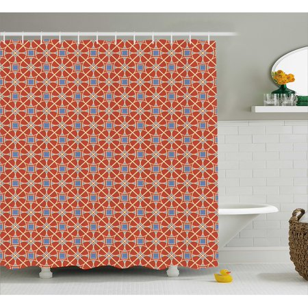 Asian Shower Curtain Big Circles And Squares Curvy Lines