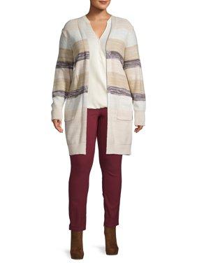 Heart & Crush Women's Plus Size Multi Stripe Cardigan