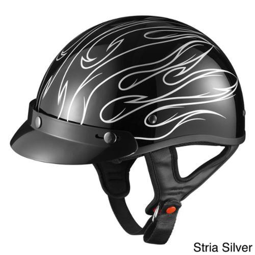 GLX Motorcycle Snap-on Visor Half Helmet Stria Silver, Small