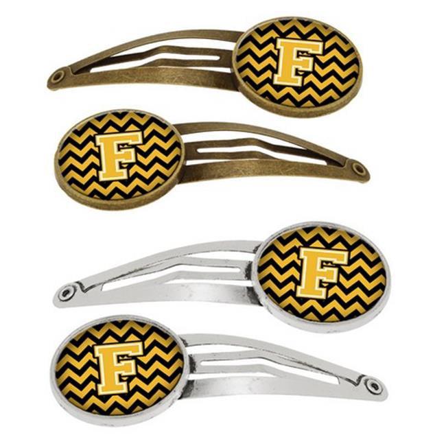 Letter F Chevron Black & Gold Barrettes Hair Clips, Set of 4