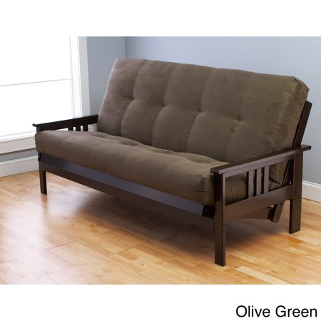 Somette Monterey Hardwood Suede Queen Size Futon Sofa Bed Olive Green