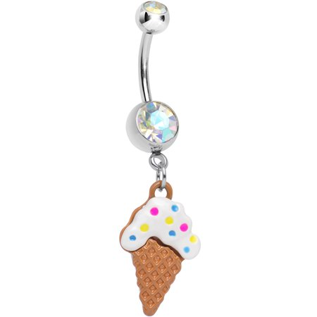 Aurora Double We All Scream for Ice Cream Cone Dangle Belly Ring