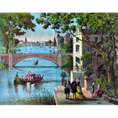 Vintage American History Print Of Ben Franklin Being Greeted Along The Bank Of A River In France It Reads The Reception Of Benjamin Franklin In France Poster Print