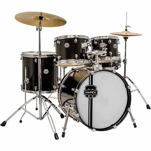 Mapex Voyager Jazz 5-Piece Drum Set with Cymbals, Black by Mapex