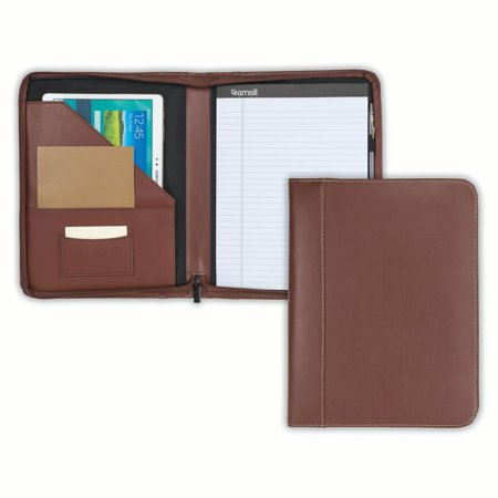 Samsill Contrast Stitch Leather Zipper Padfolio, 8.5