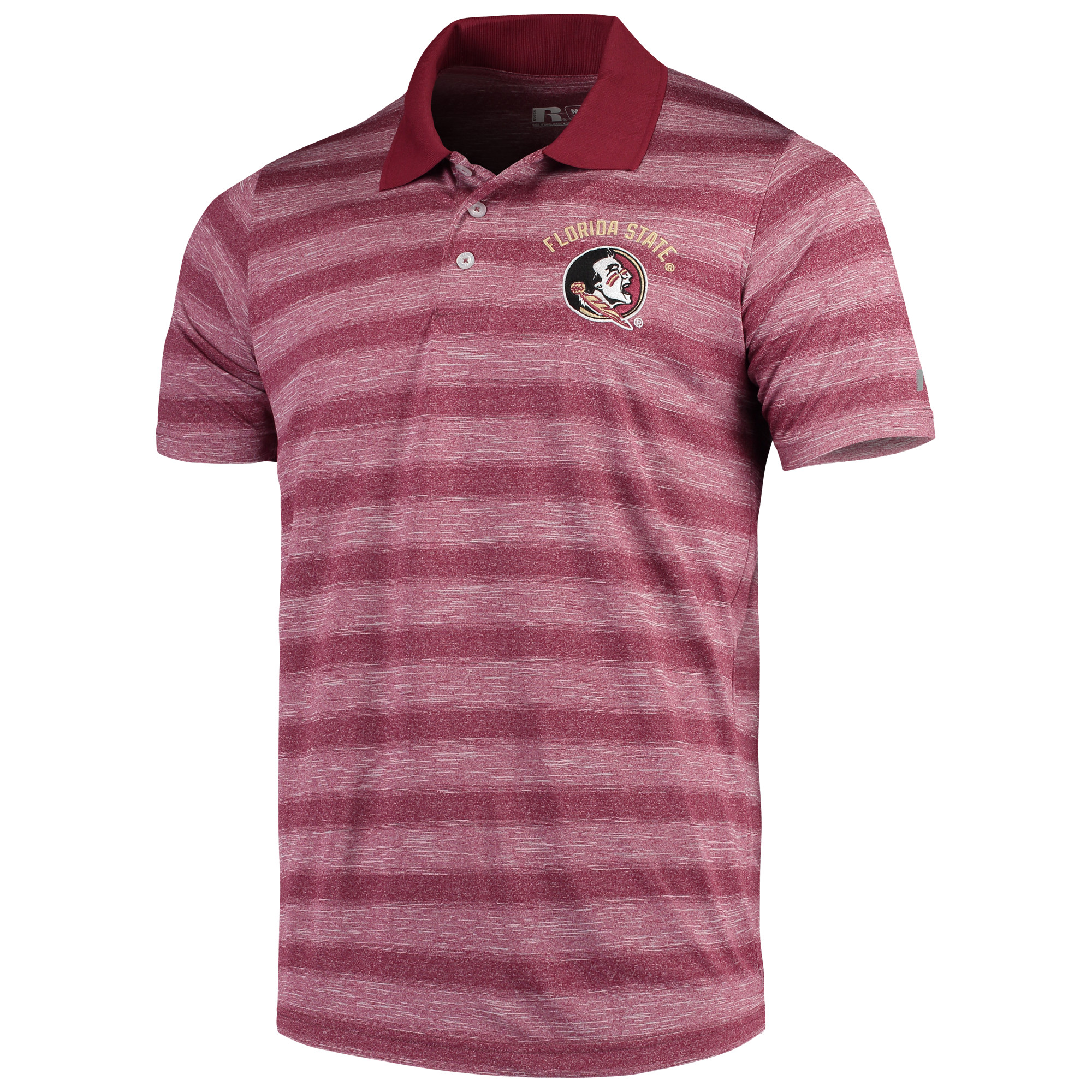 Men's Russell Garnet Florida State Seminoles Classic Fit Striped Synthetic Polo