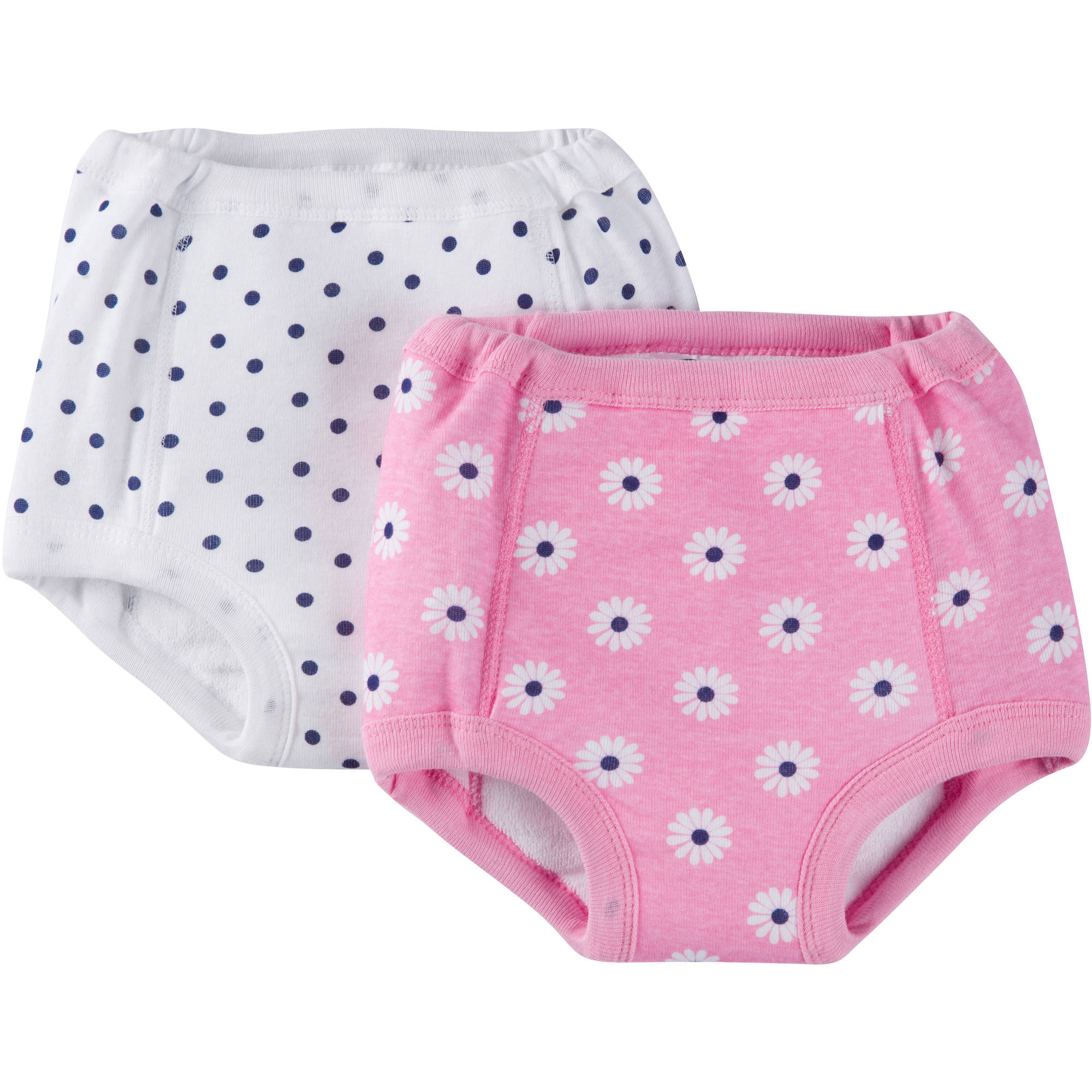 Gerber Baby Toddler Girls Daisy 100% Cotton Training Pants with Peva Lining, 2-Pack Ages 2-3T