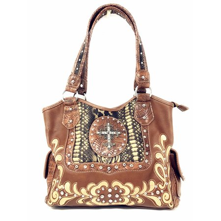 Leather Rhinestone Cross (Rhinestone Studded Large Metal Cross Flora Leather Shoulder Handbag Purse In Multi Colors )