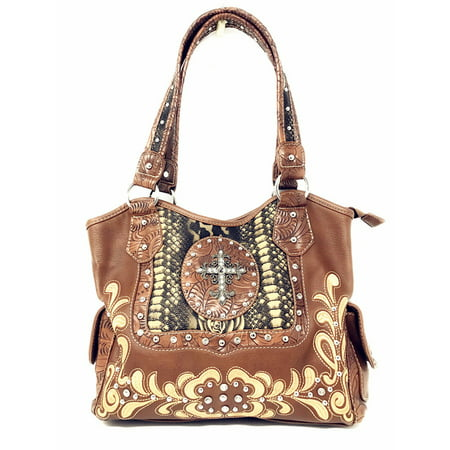 Rhinestone Studded Large Metal Cross Flora Leather Shoulder Handbag Purse In Multi Colors