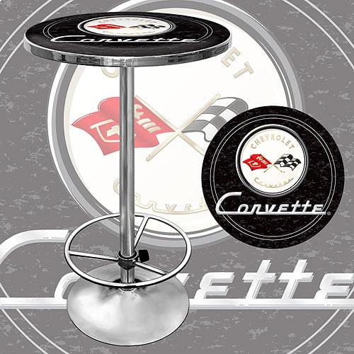 """Trademark Corvette C1 42"""" Pub Table, Chrome/Black"""