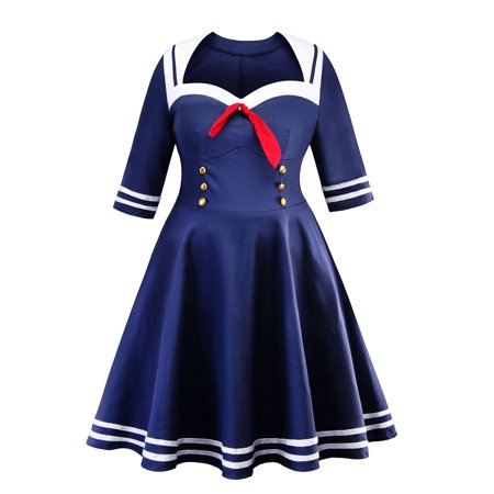 Plus Size Women Vintage Swing Dress Lace Off Shoulder Navy Style Rockabilly Evening Party Prom Dress XL-5XL (Plus Size Rockabilly Dresses)