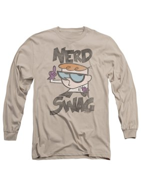 d3b3d97f Product Image Dexter's Laboratory Cartoon Network Nerd Swag Adult Long  Sleeve T-Shirt Tee