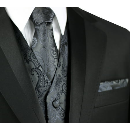 Italian Design, Men's Formal Tuxedo Vest, Tie & Hankie Set for Prom, Wedding, Cruise in Charcoal