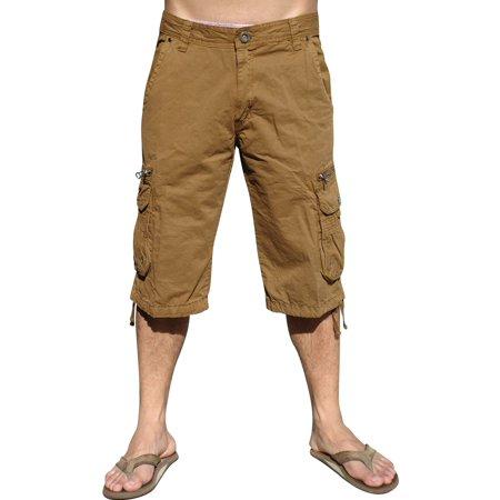 8 Pocket Denim Cargo Shorts - Mens Military-style Cargo Pocket Shorts, Timber, #91S-2-52