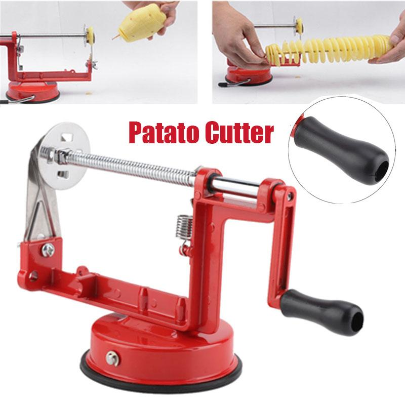 Dilwe Manual Red Stainless Steel Twisted Potato Slicer Spiral Vegetable Cutter French Fry Kitchen Tool with Cutter Suction Base