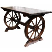 Wheeled Wooden Table,Brown